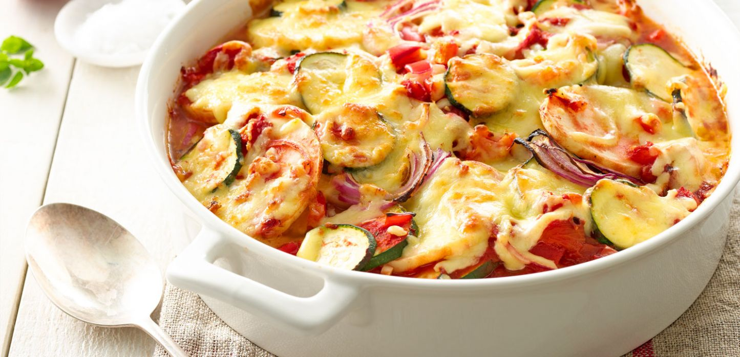 Cheesy Layered Vegetable Bake - Recipes Vegetable Bake