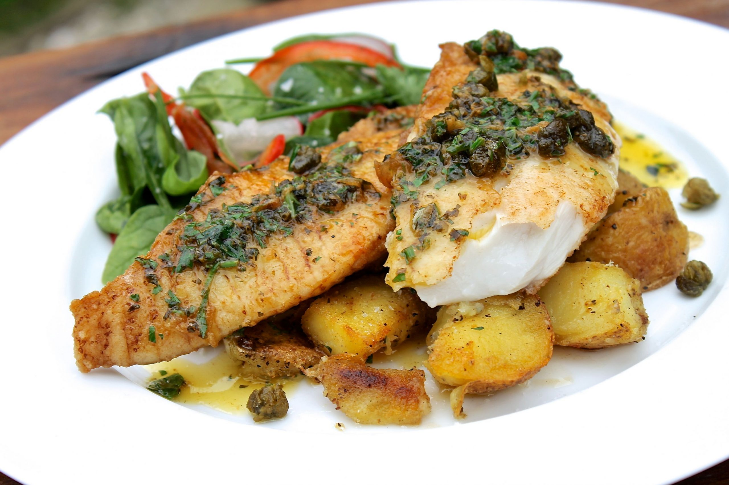 ChelseaWinter.co.nz Pan fried fish with lemon & herb butter sauce ..
