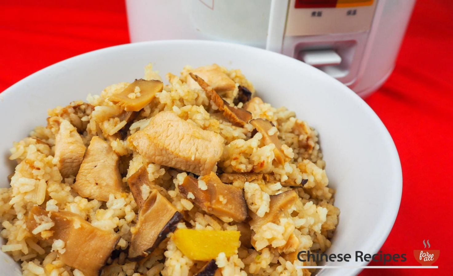 Chicken and Chinese Mushroom Rice [Rice Cooker Recipe] - Recipes Rice Cooker