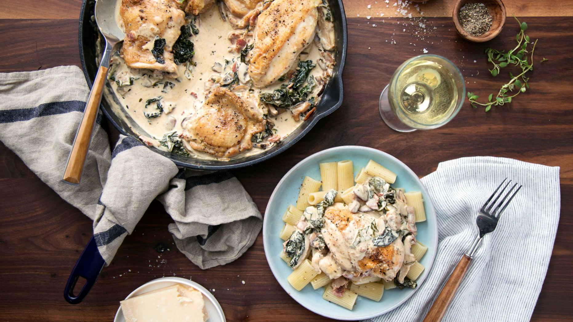 Chicken and Kale in a Creamy Mushroom Sauce - Recipe Chicken Breast Kale Mushrooms
