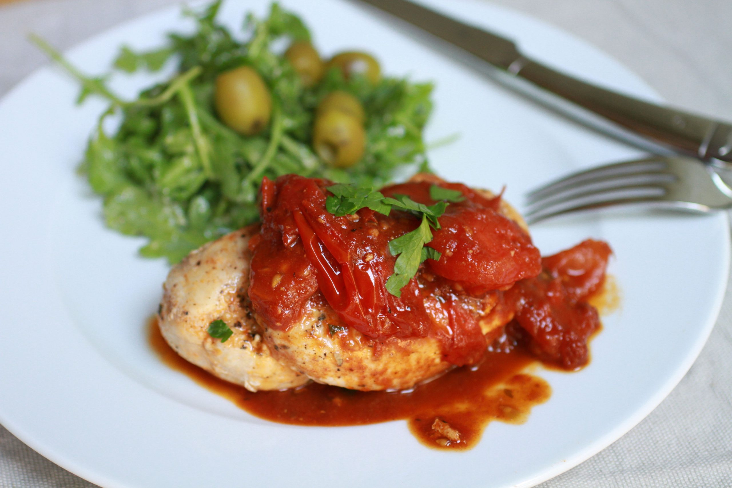 Chicken Breasts in Smoky Tomato Pan Sauce
