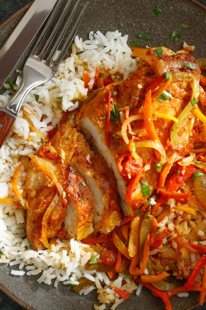 Chicken Breasts With Peppers, Tomatoes and Saffron - Recipe Chicken Breast Tomatoes Peppers