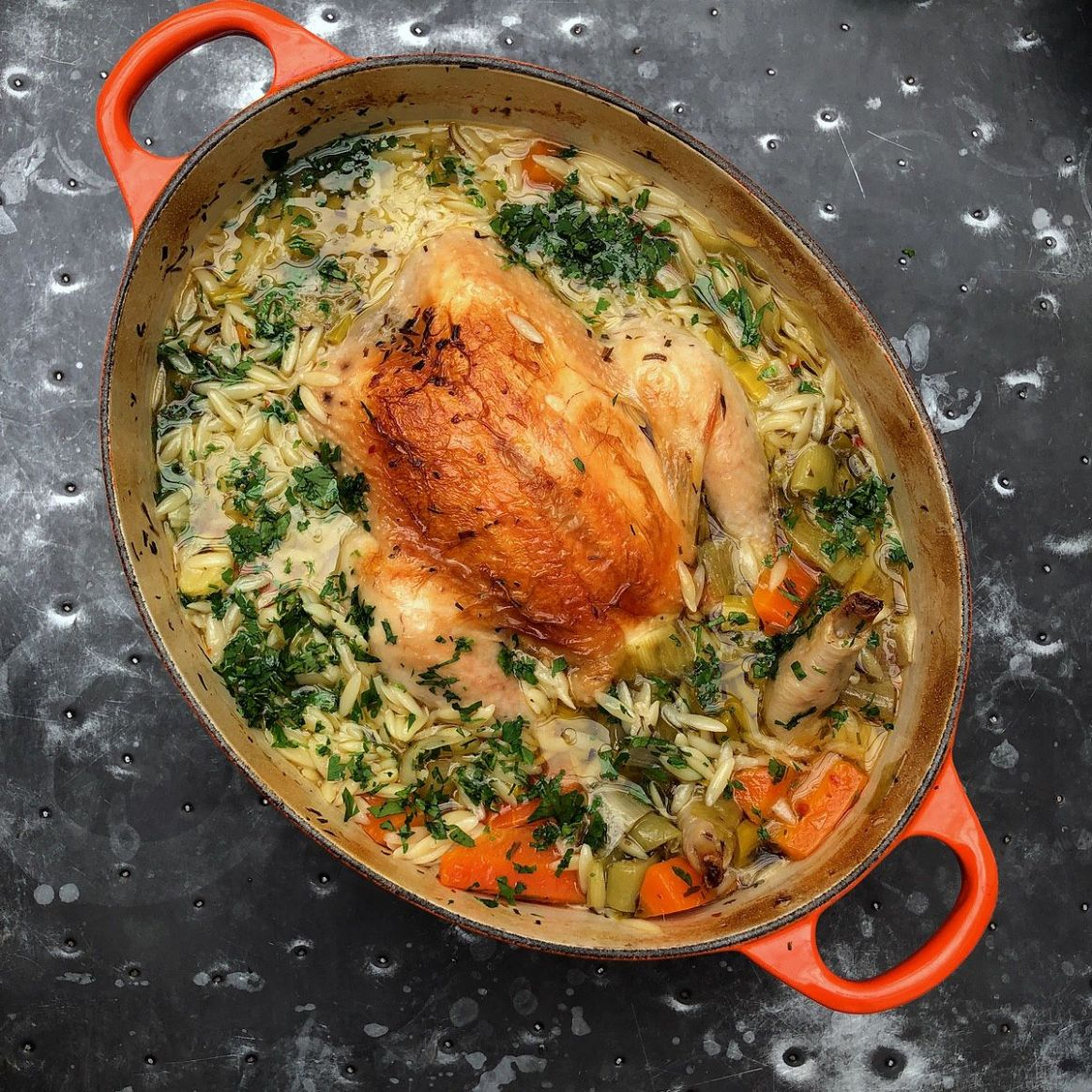 Chicken In A Pot with Lemon and Orzo - Dinner Recipes Nigella