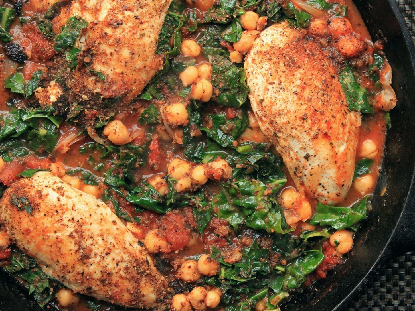 Chicken in Tomato Sauce With Chickpeas and Kale Recipe
