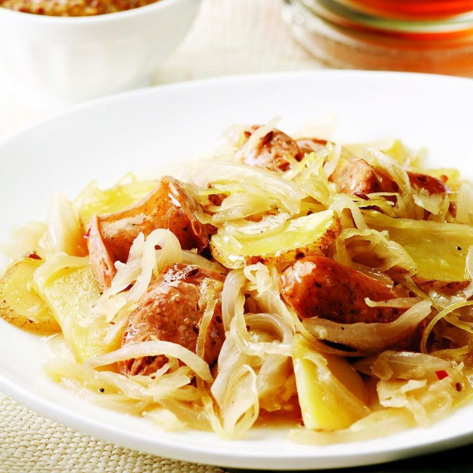 Chicken Sausage with Potatoes & Sauerkraut for Two - Healthy Recipes With Sauerkraut