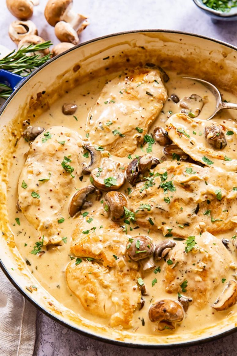 Chicken with Garlic Mushroom Sauce