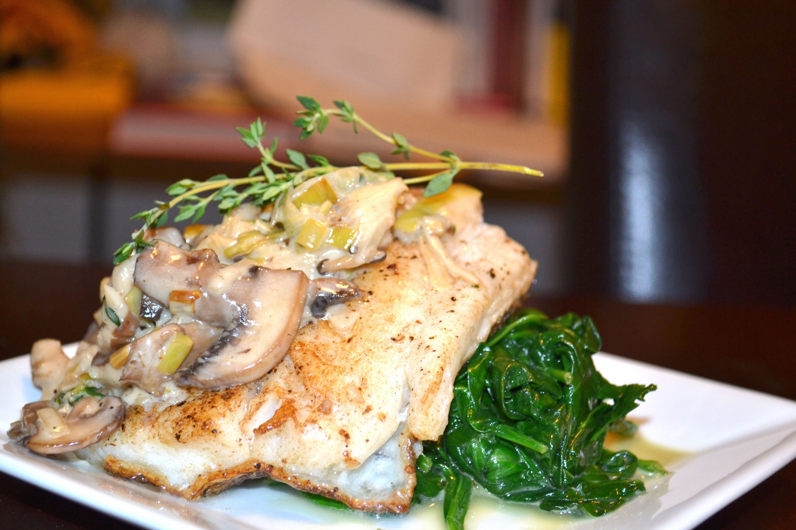 Chilean Sea Bass with Brandy Creamed Leeks and Mushrooms - A Hint ..