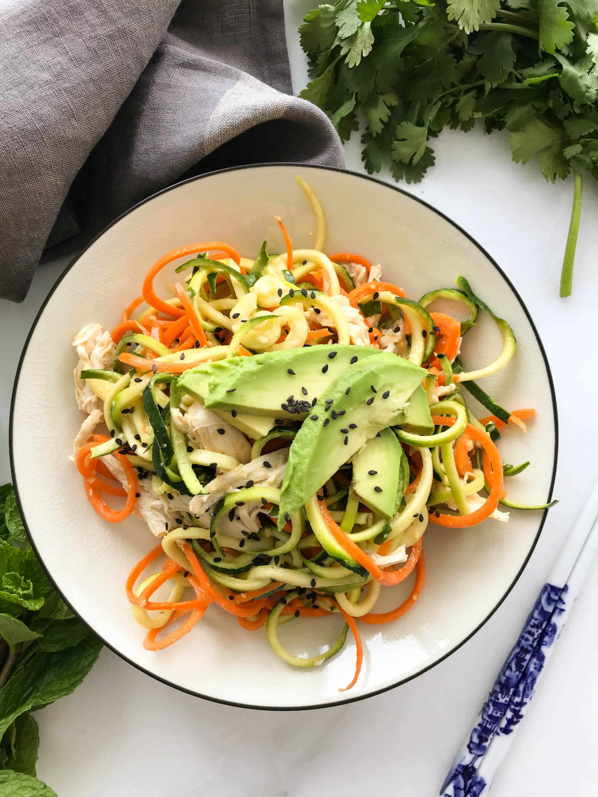 Chilled Asian Zoodle Salad with Chicken + Avocado
