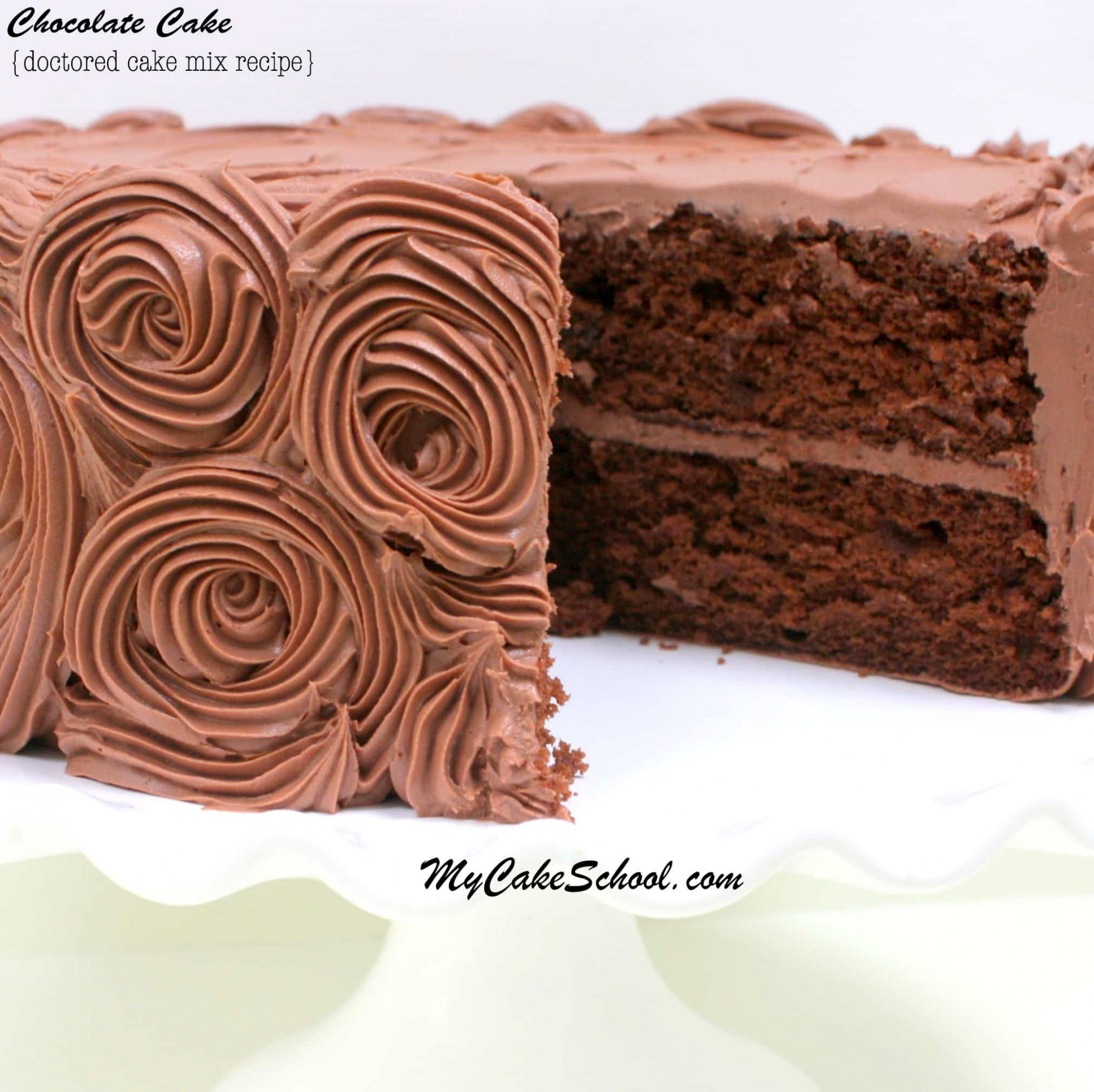 Chocolate Cake~A Doctored Mix Recipe | My Cake School - Recipes Chocolate Cake Mix