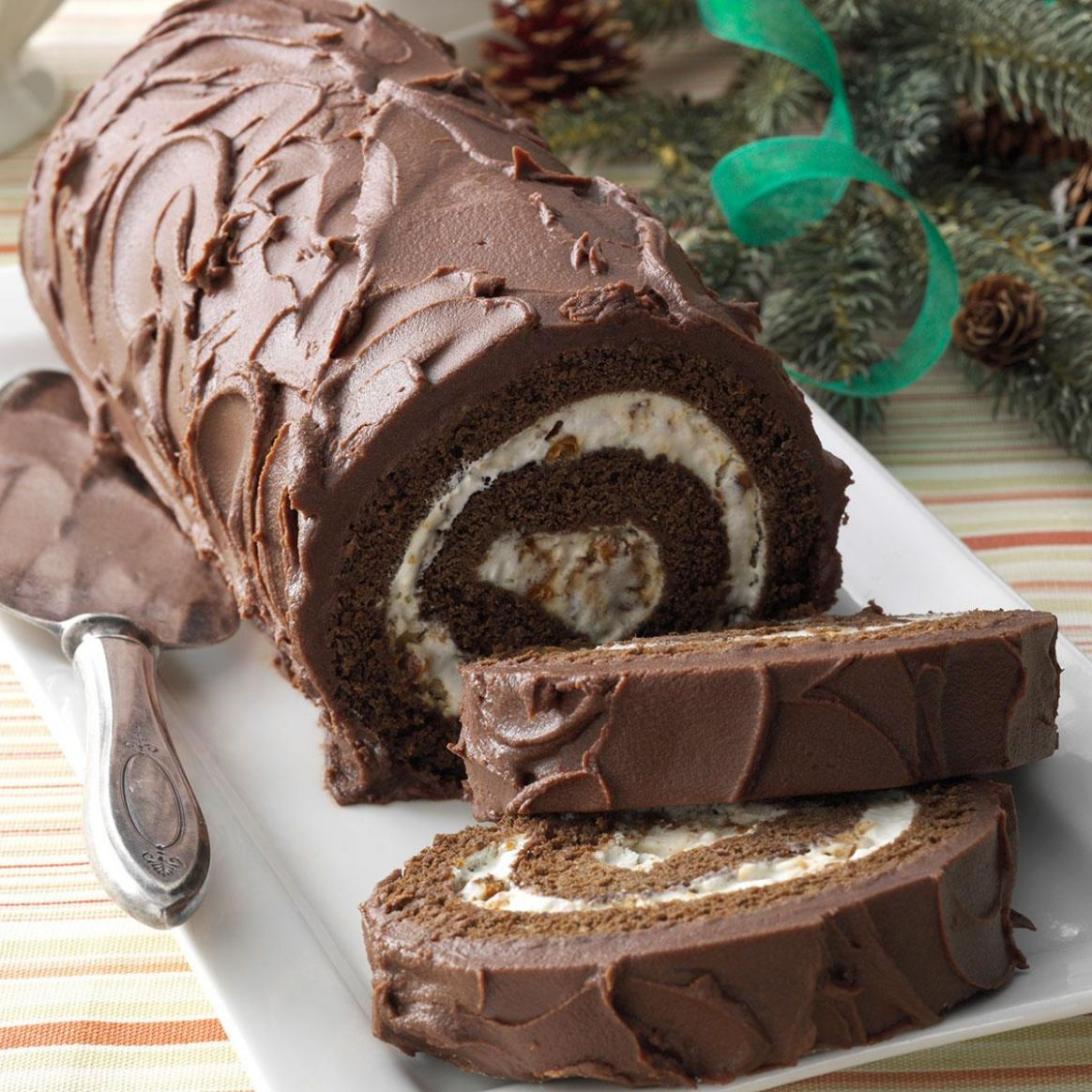 Chocolate Cake Roll with Praline Filling - Recipe Chocolate Roll Cake