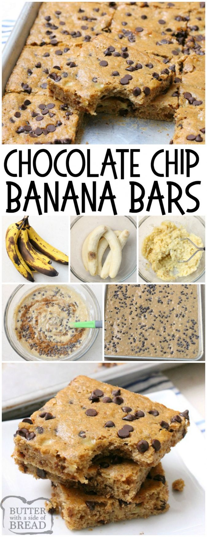 CHOCOLATE CHIP BANANA BARS - Butter with a Side of Bread - Easy Recipes Ripe Bananas