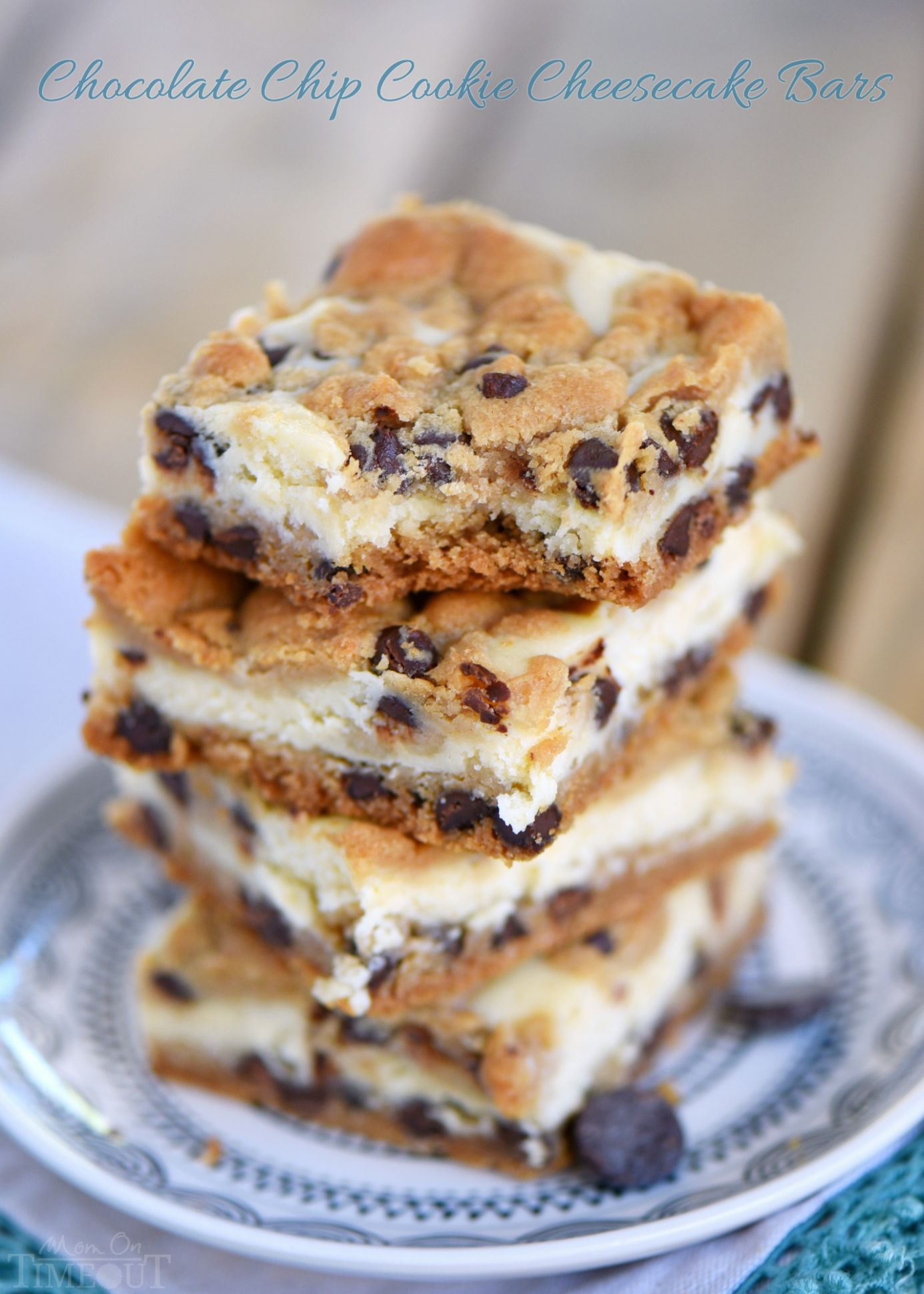 Chocolate Chip Cookie Cheesecake Bars - Dessert Recipes Baking