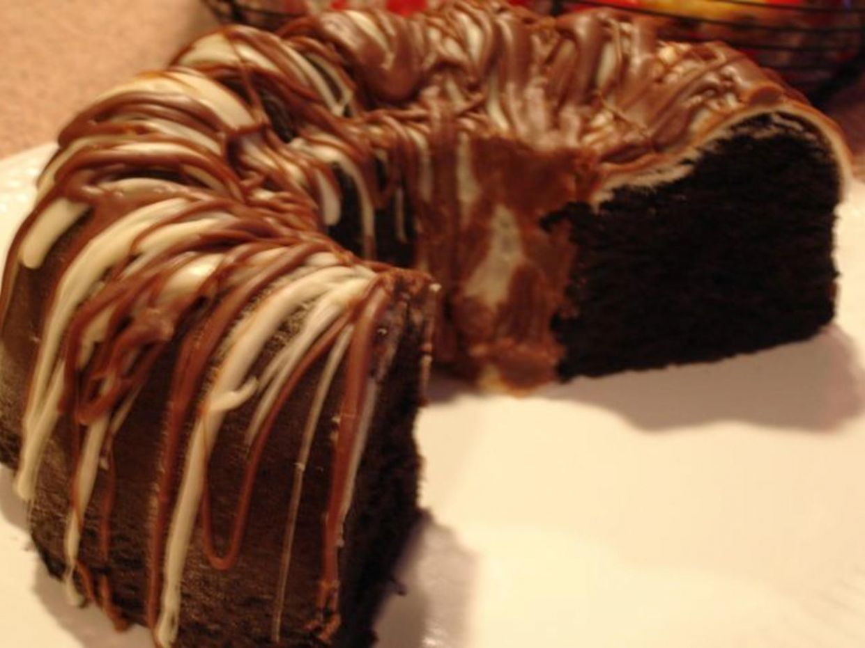 Chocolate Kahlua Black Out Bundt Cake with Vanilla & Coffee Drizzle - Recipe Chocolate Kahlua Bundt Cake