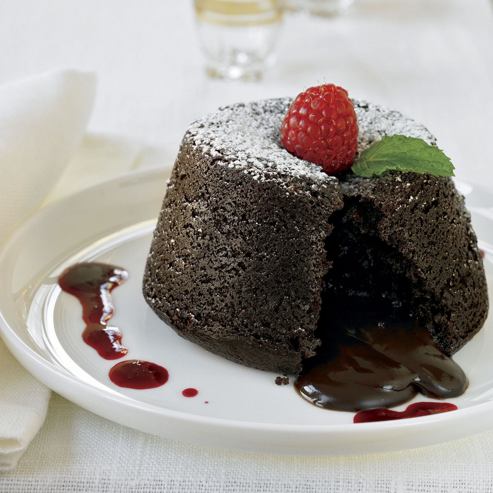 Chocolate Molten Lava Cakes with Raspberry Sauce Recipe
