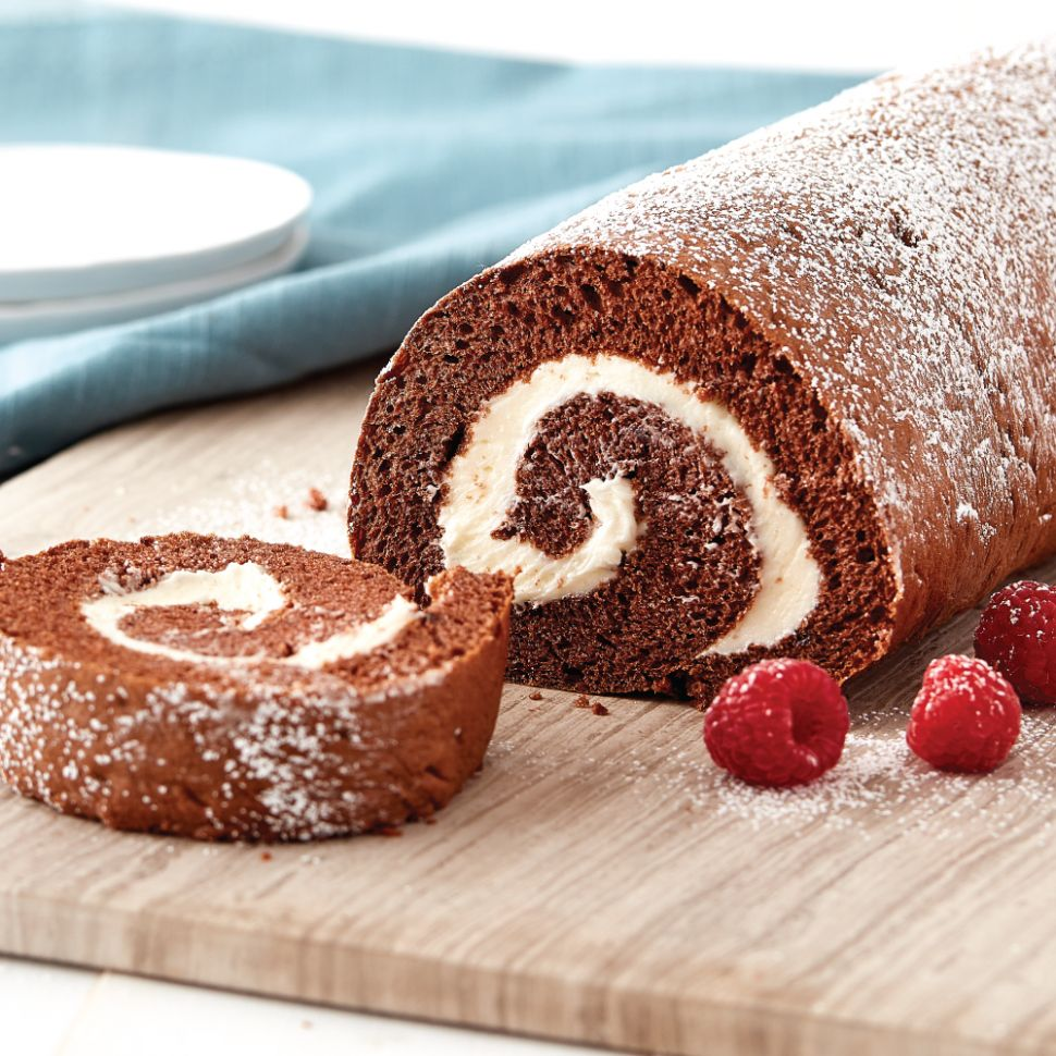Chocolate Swiss Roll with Cream Filling