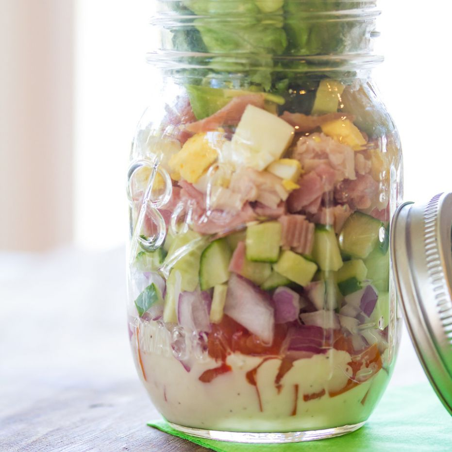 Classic Cobb Mason Jar Salad - Recipes Salad In A Jar