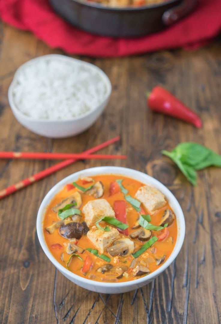 Classic Thai Red Curry with Tofu and Mushrooms