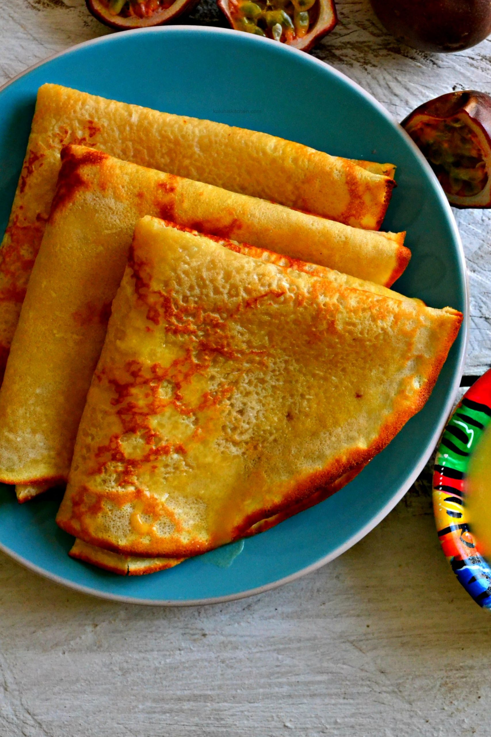 Coconut Crepes with Passion Fruit Curd