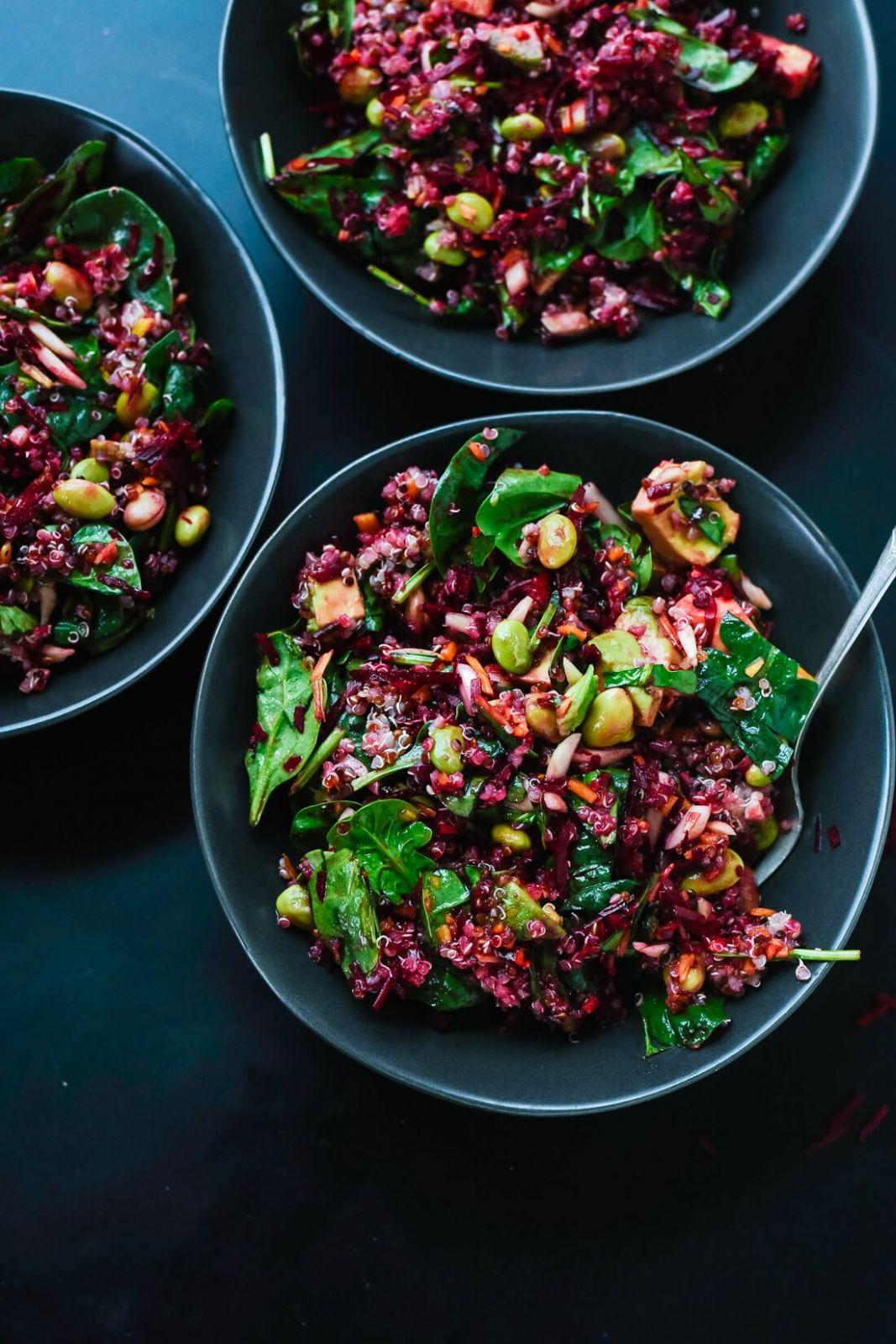 Colorful Beet Salad with Carrot, Quinoa & Spinach - Salad Recipes Raw