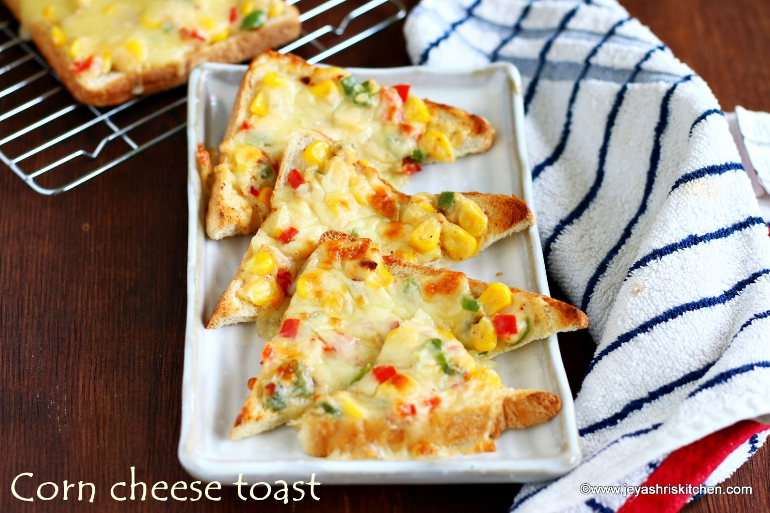 Corn cheese capsicum toast recipe