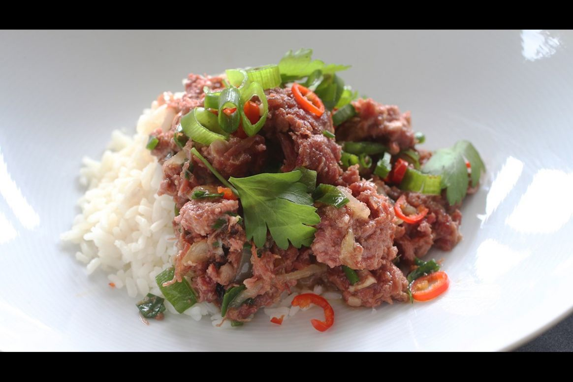 Corned beef on rice ( SERVES 10 ) - Beef Recipes Nz