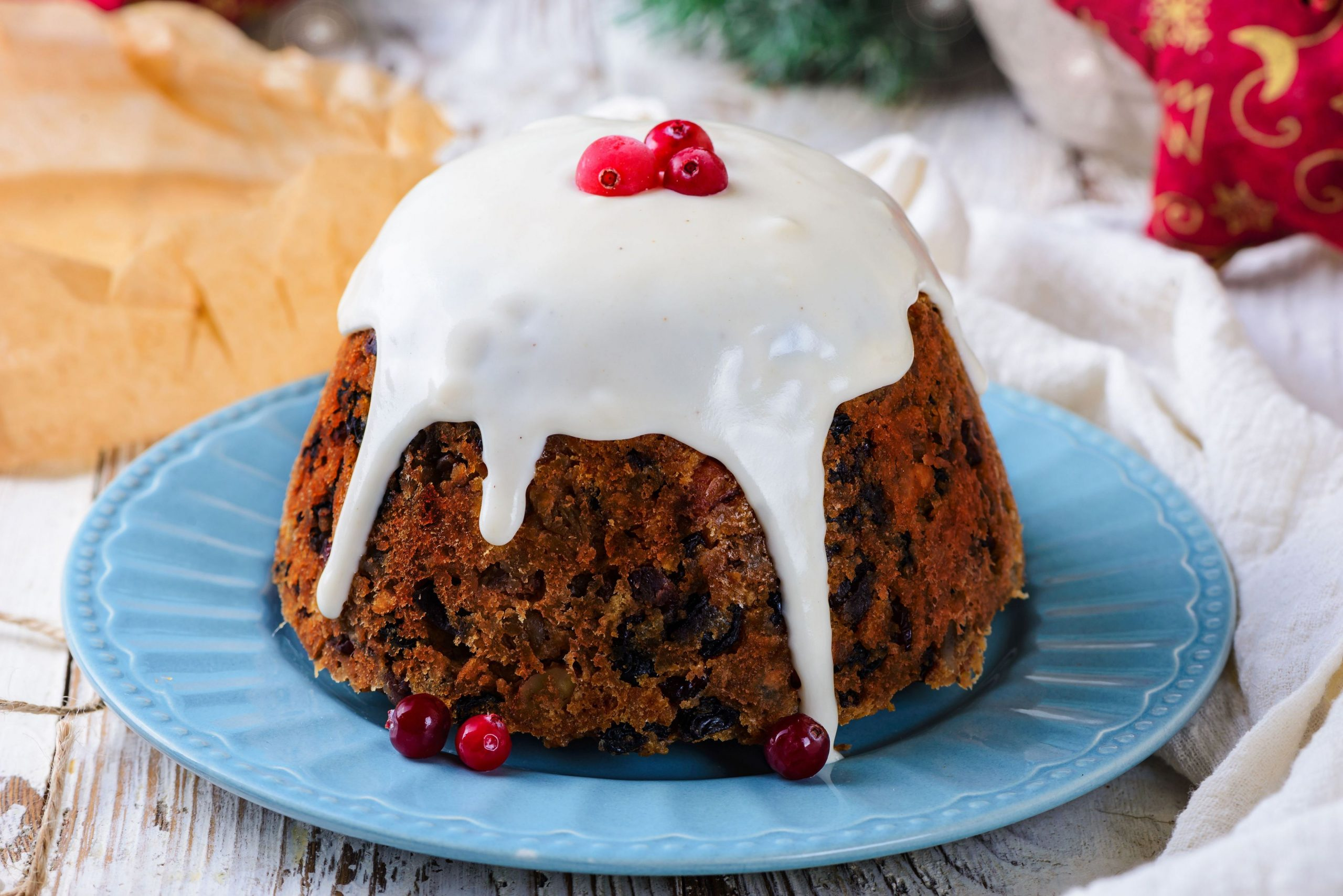 Cranberry, Almond, and Orange Christmas Pudding