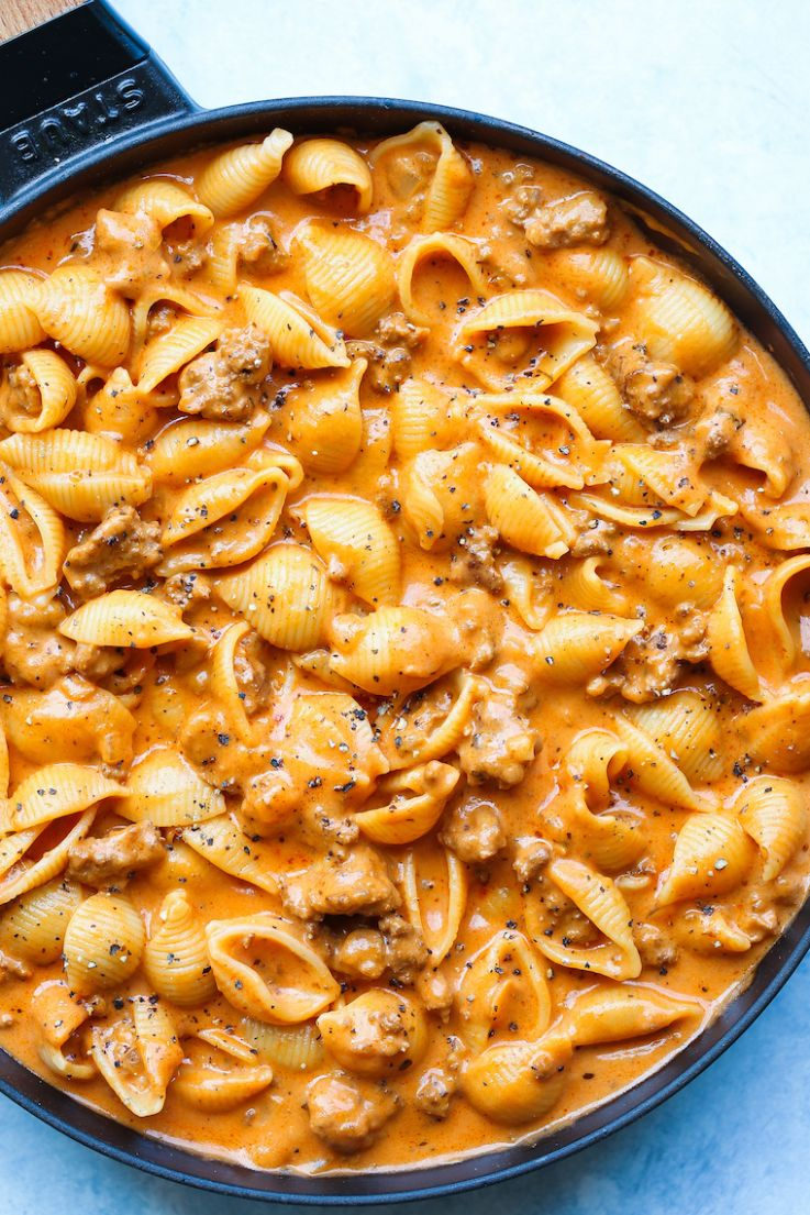 Creamy Beef and Shells - Recipes Dinner Easy