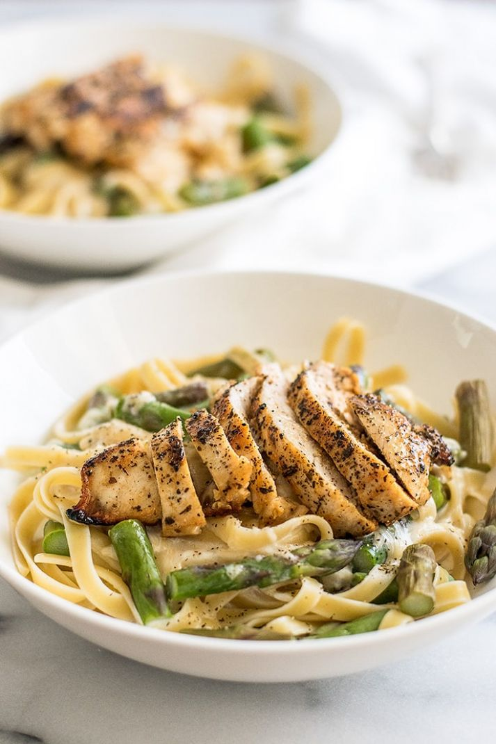 Creamy Chicken and Asparagus Pasta Dinner for Two - Easy Recipes For Two
