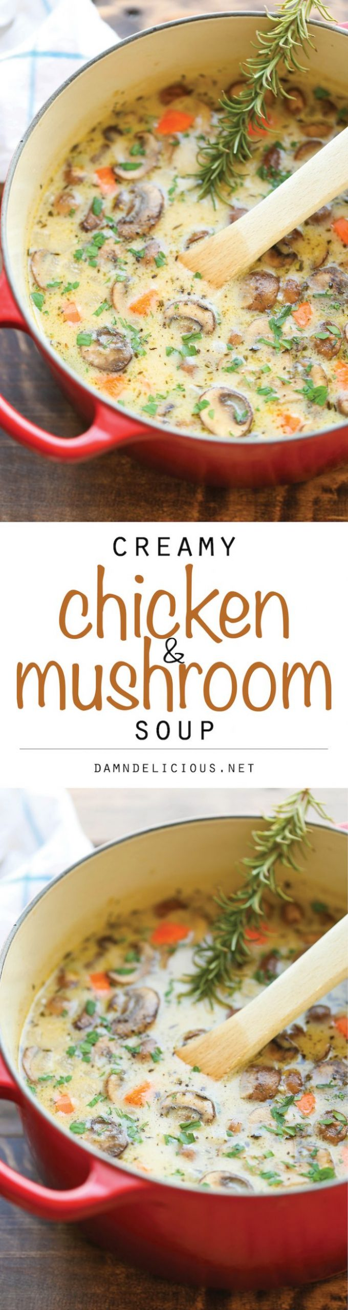 Creamy Chicken and Mushroom Soup - Soup Recipes Damn Delicious