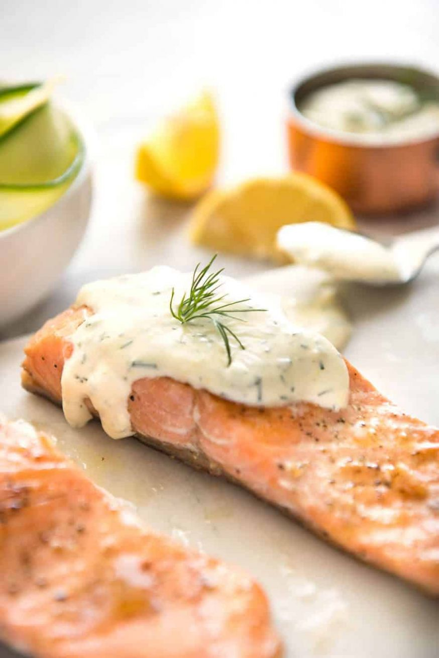 Creamy Dill Sauce with Salmon or Trout