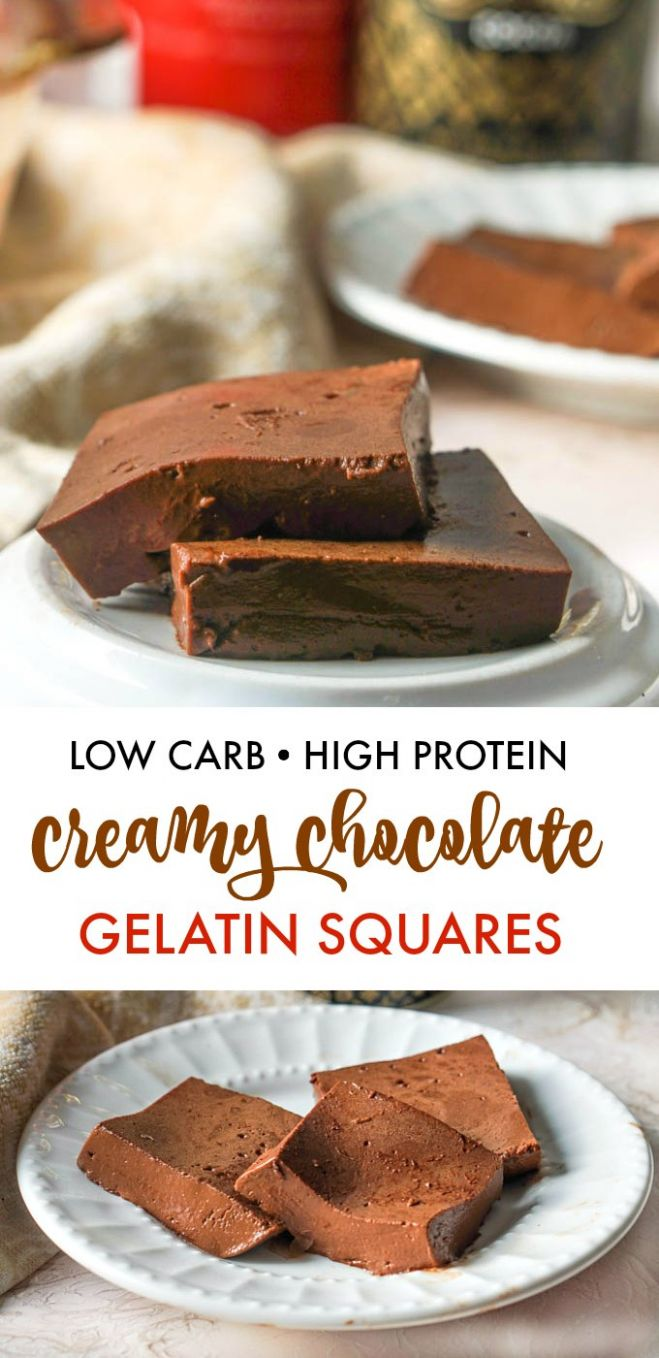 Creamy Low Carb Chocolate Gelatin Squares - high in protein too! - Recipes With Chocolate Jello