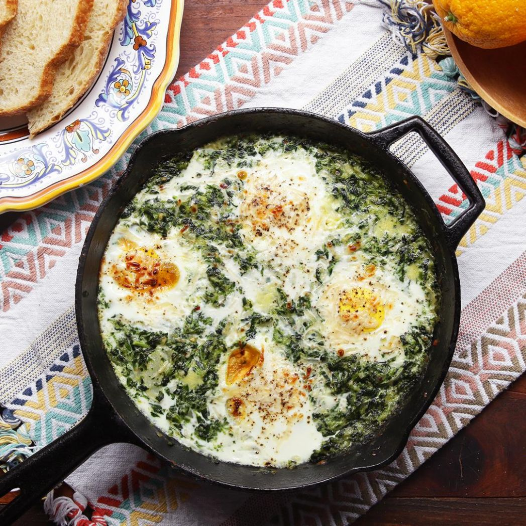 Creamy One-Pot Spinach And Egg Breakfast Recipe by Tasty