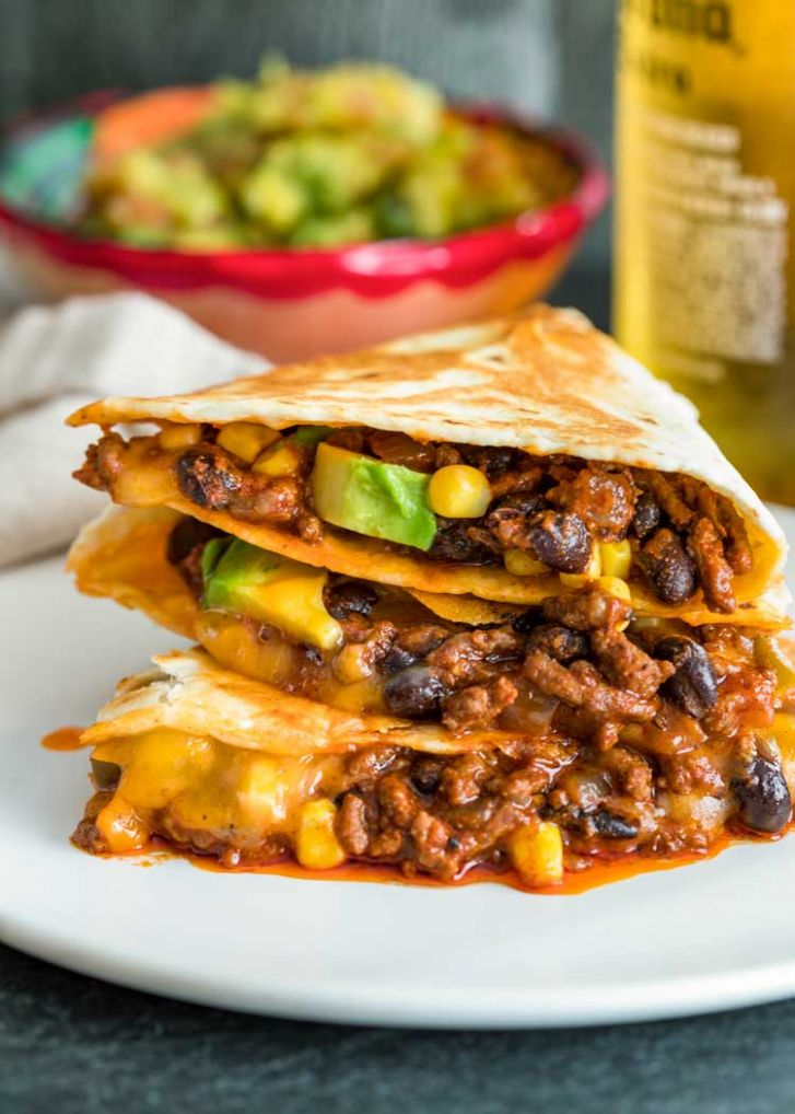 Crispy Ground Beef Quesadillas - Kevin Is Cooking
