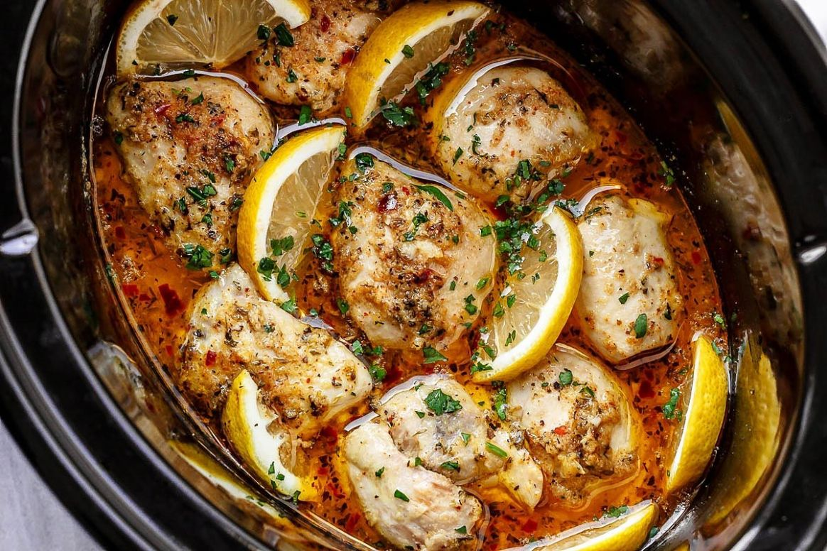 Crock Pot Lemon Garlic Butter Chicken - Recipes Chicken Breast Slow Cooker