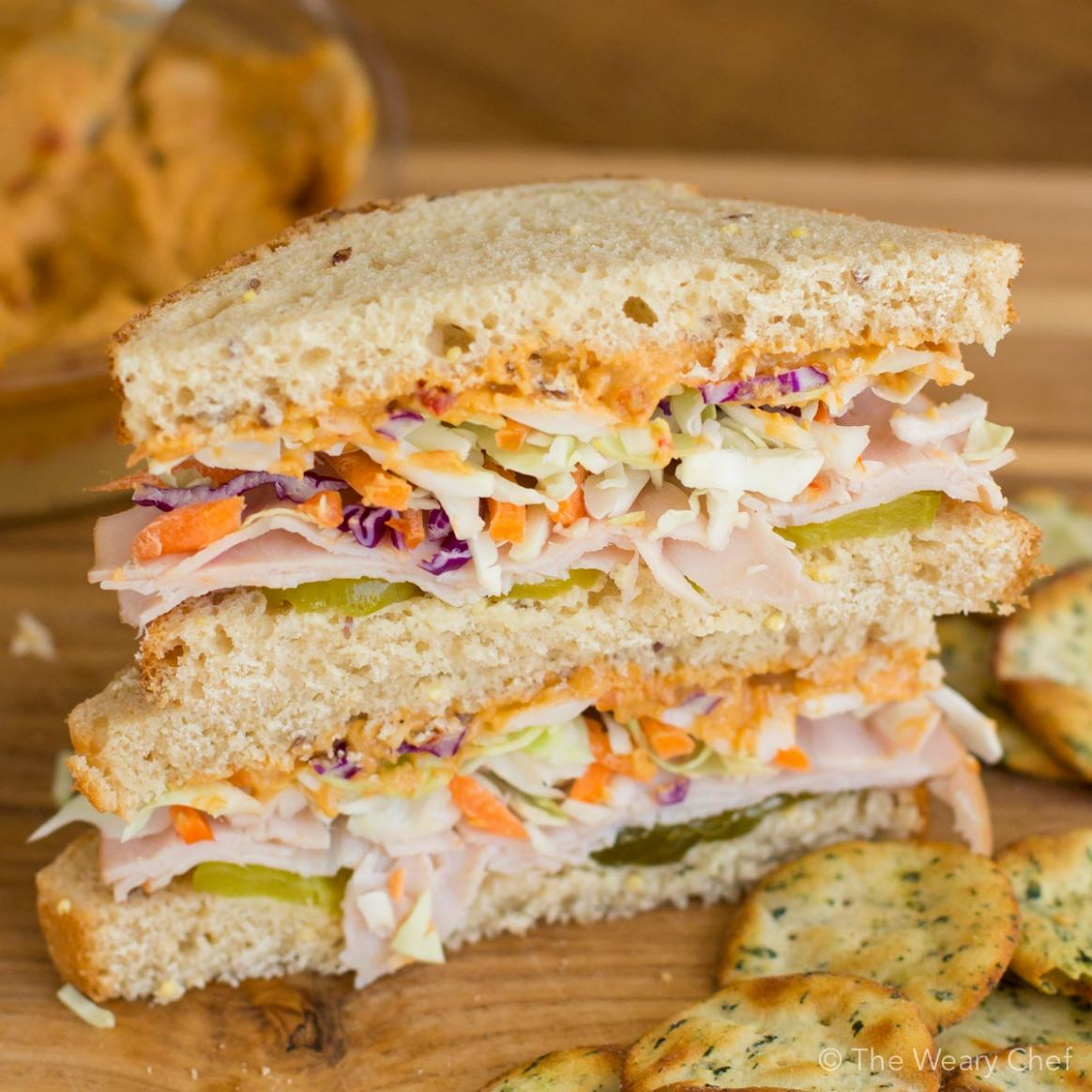 Crunchy Turkey Sandwich with Hummus - Sandwich Recipes Turkey