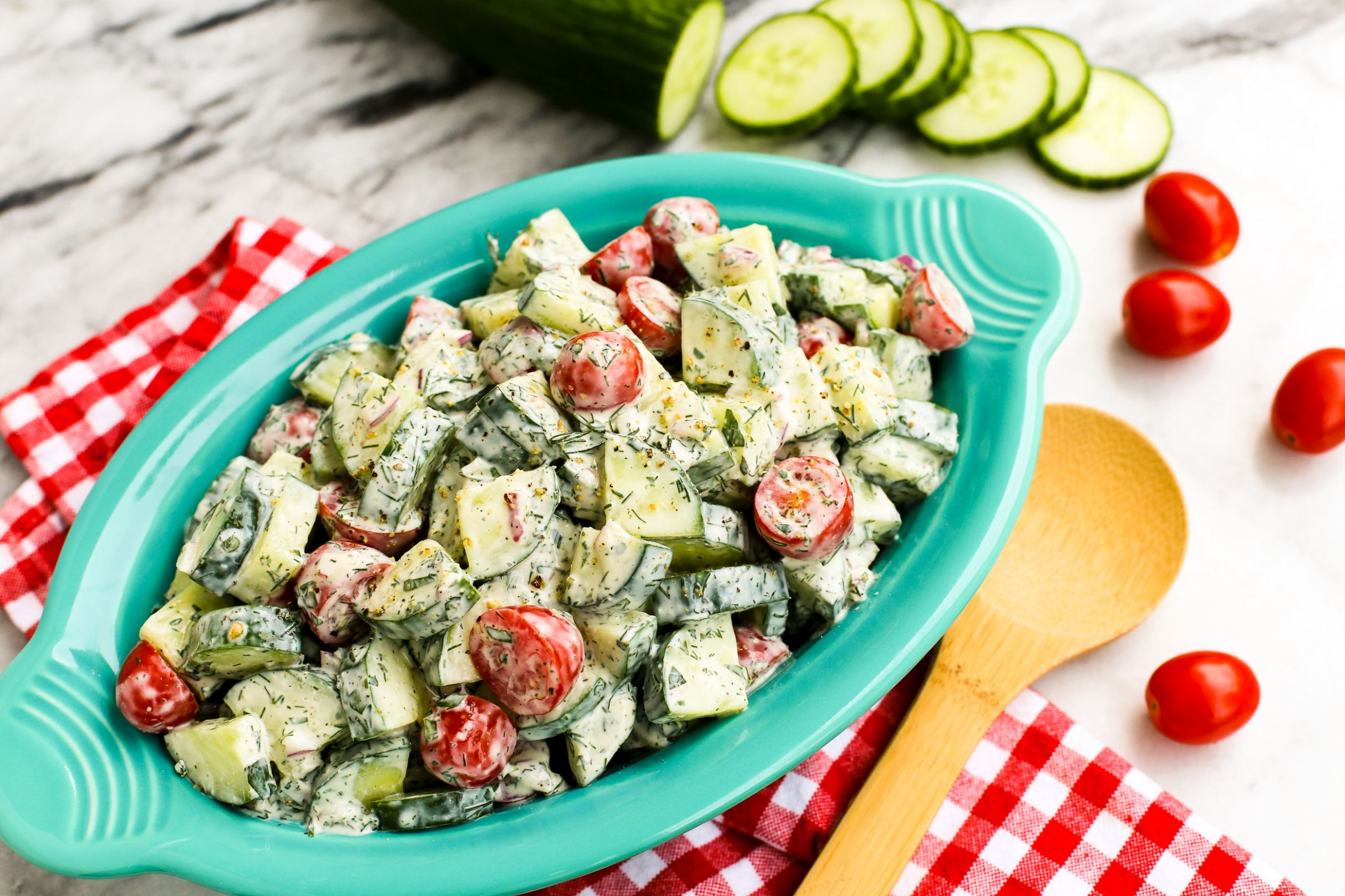 Cucumber Tomato Salad with Creamy Herb Dressing