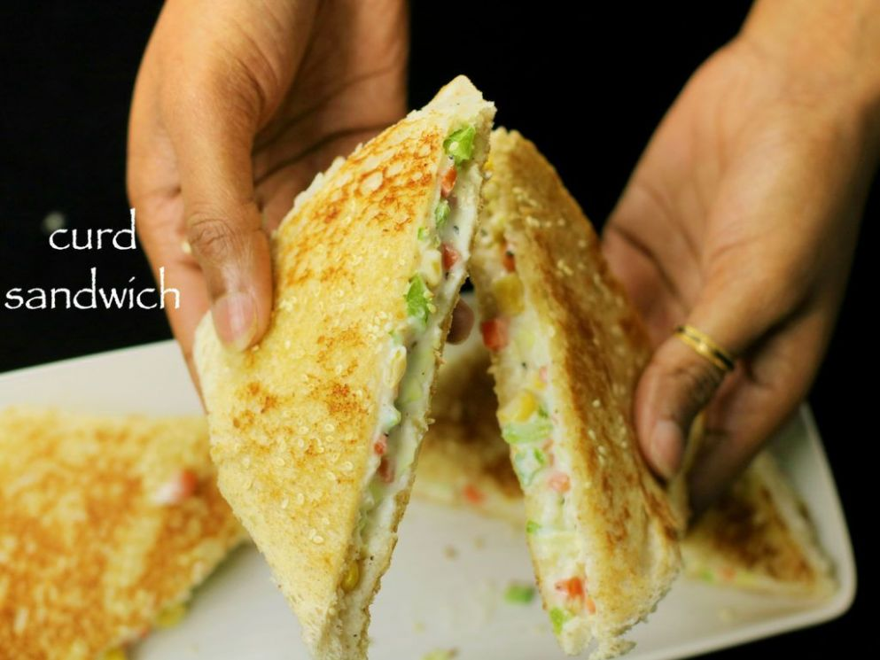 Curd sandwich recipe | yogurt sandwich recipe - kids lunch box