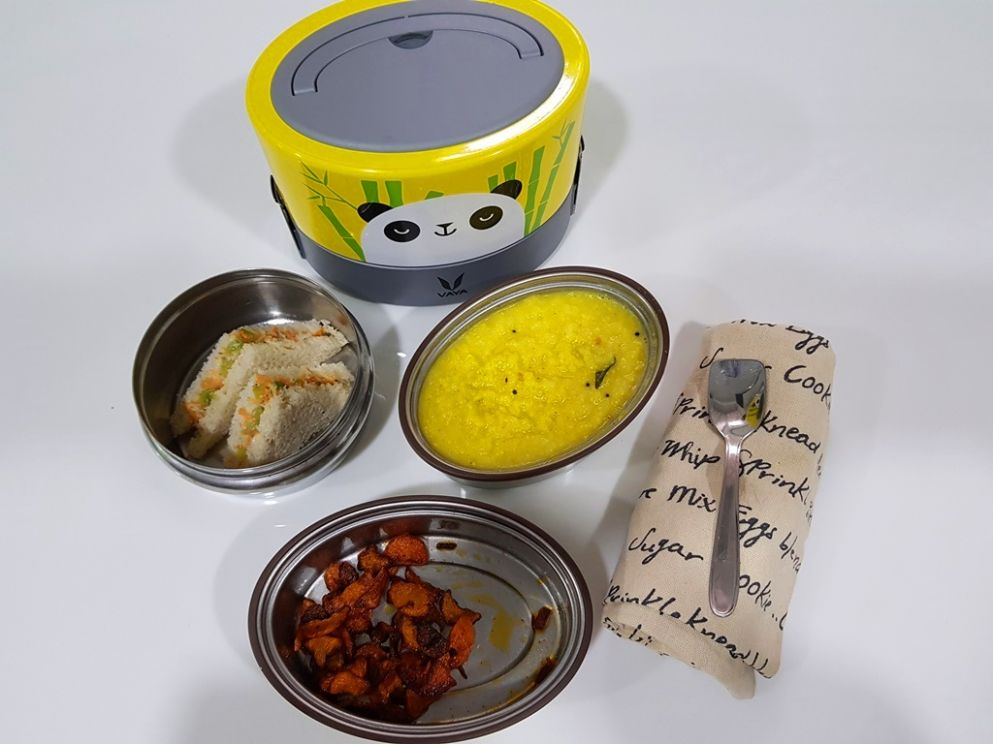 Dal Rice, Carrot Poriyal & Veg Mayo Sandwich - Kids Lunch Box Ideas 11