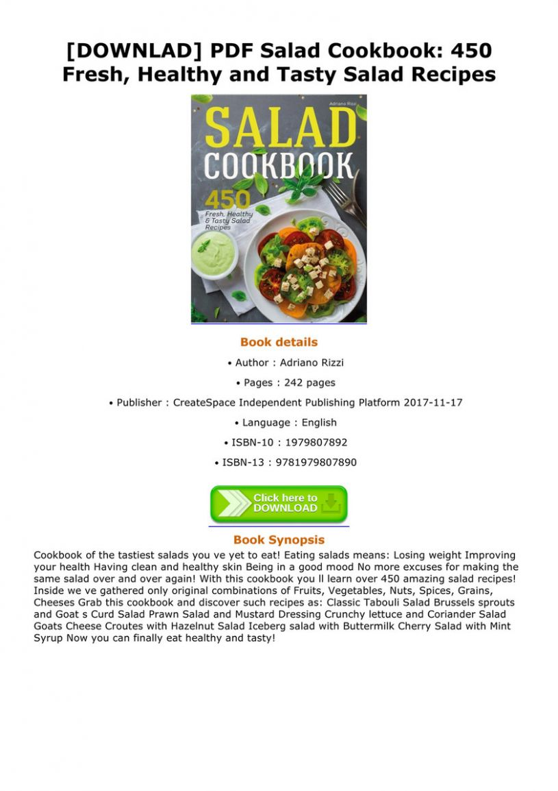 Danial - DOWNLAD PDF Salad Cookbook 8 Fresh Healthy and Tasty ..