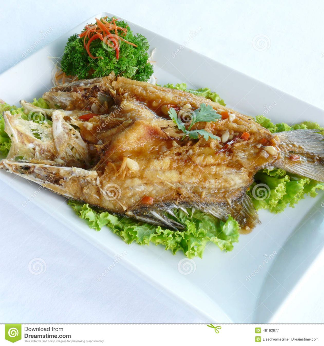 Deep Fried Sand Goby Fish With X.o. Sauce Stock Image - Image of ...