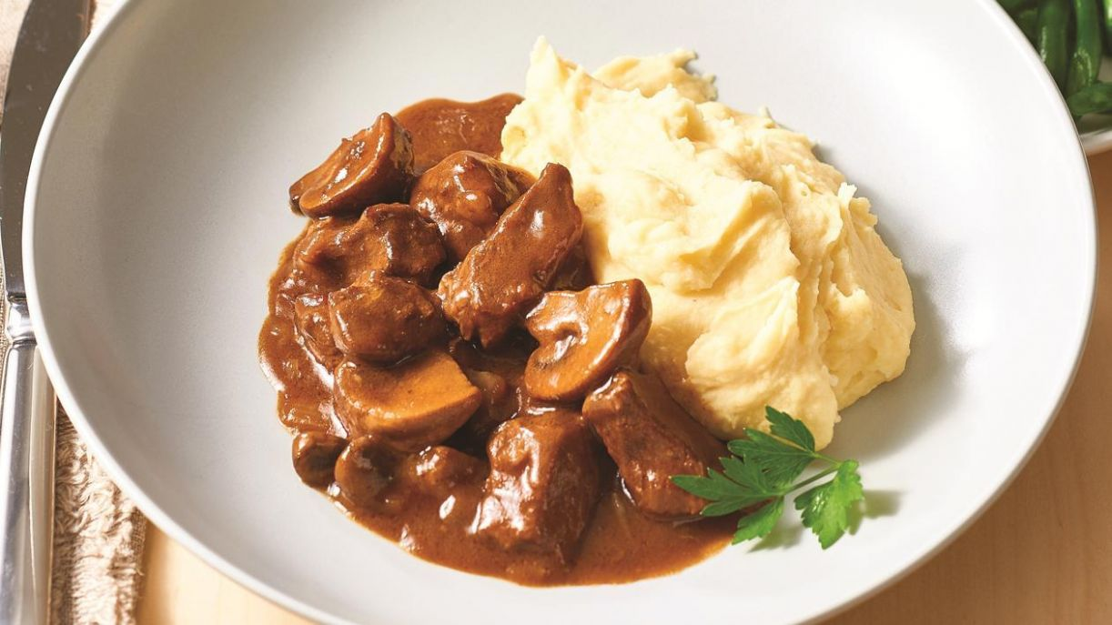 Diced Steak and Mushroom Goulash - Recipes Diced Beef