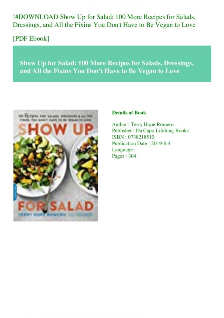 DOWNLOAD Show Up for Salad 8 More Recipes for Salads Dressings … - Salad Recipes Pdf Free Download