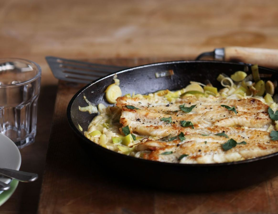 Dreamy Creamy Leeks with White Fish - Recipe Fish Leeks