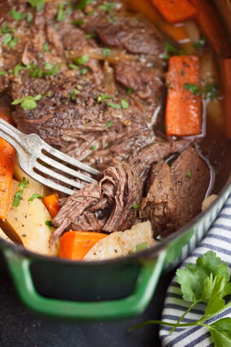 Dutch Oven Pot Roast with Carrots and Potatoes - Beef Recipes Dutch Oven