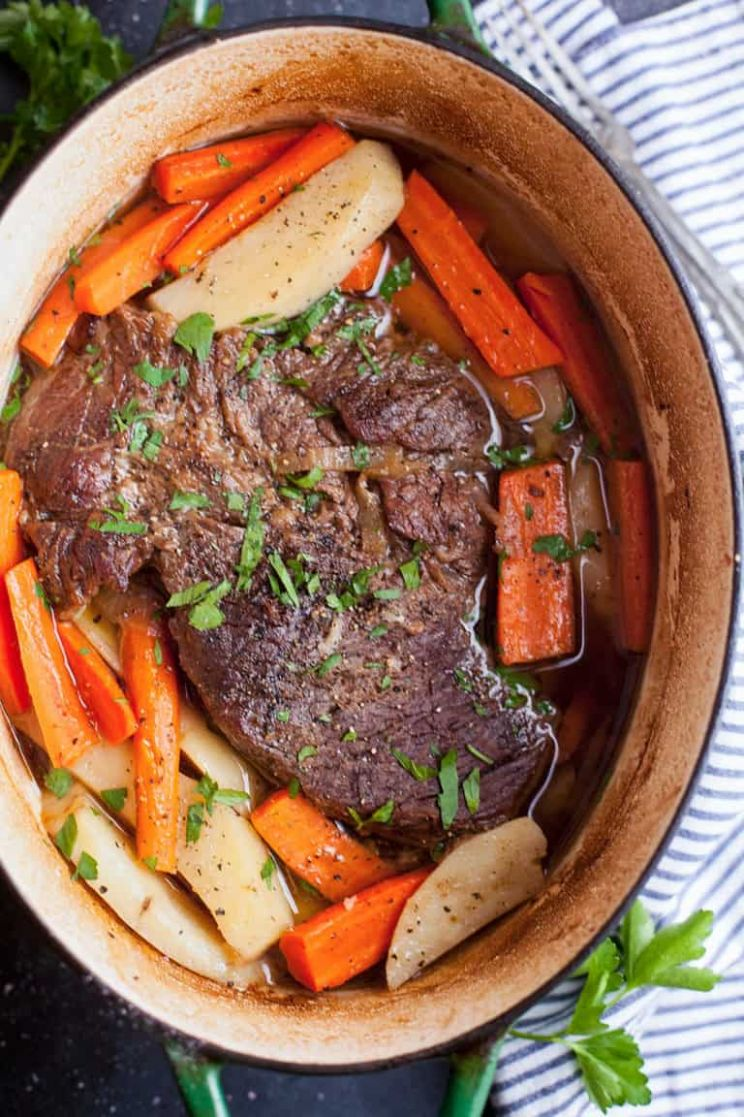 Dutch Oven Pot Roast with Carrots and Potatoes | Feast and Farm - Beef Recipes Dutch Oven