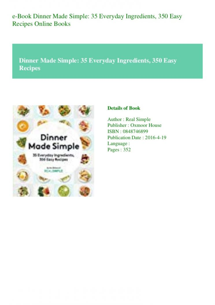 e-Book Dinner Made Simple 10 Everyday Ingredients 100 Easy Recipes O… - Easy Recipes Everyday Ingredients