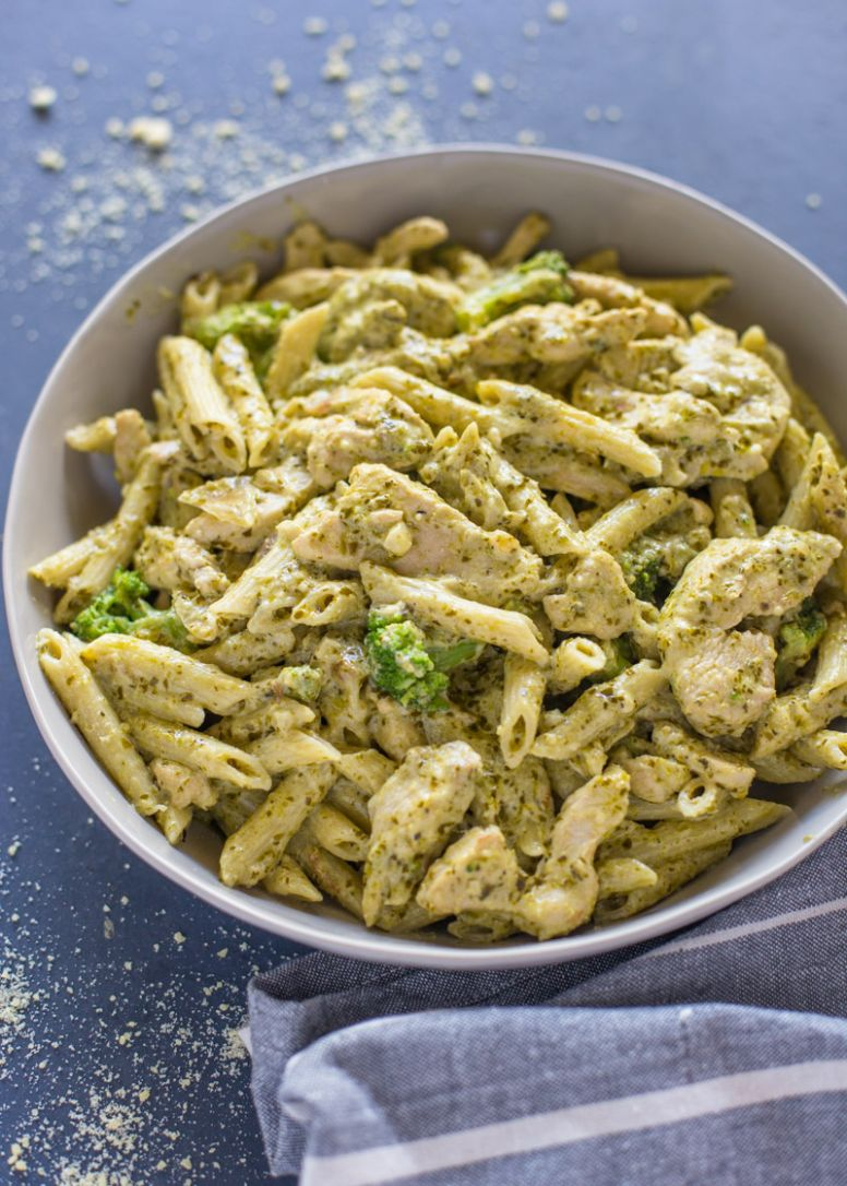 Easy 12 minute Pesto Chicken and Broccoli Pasta