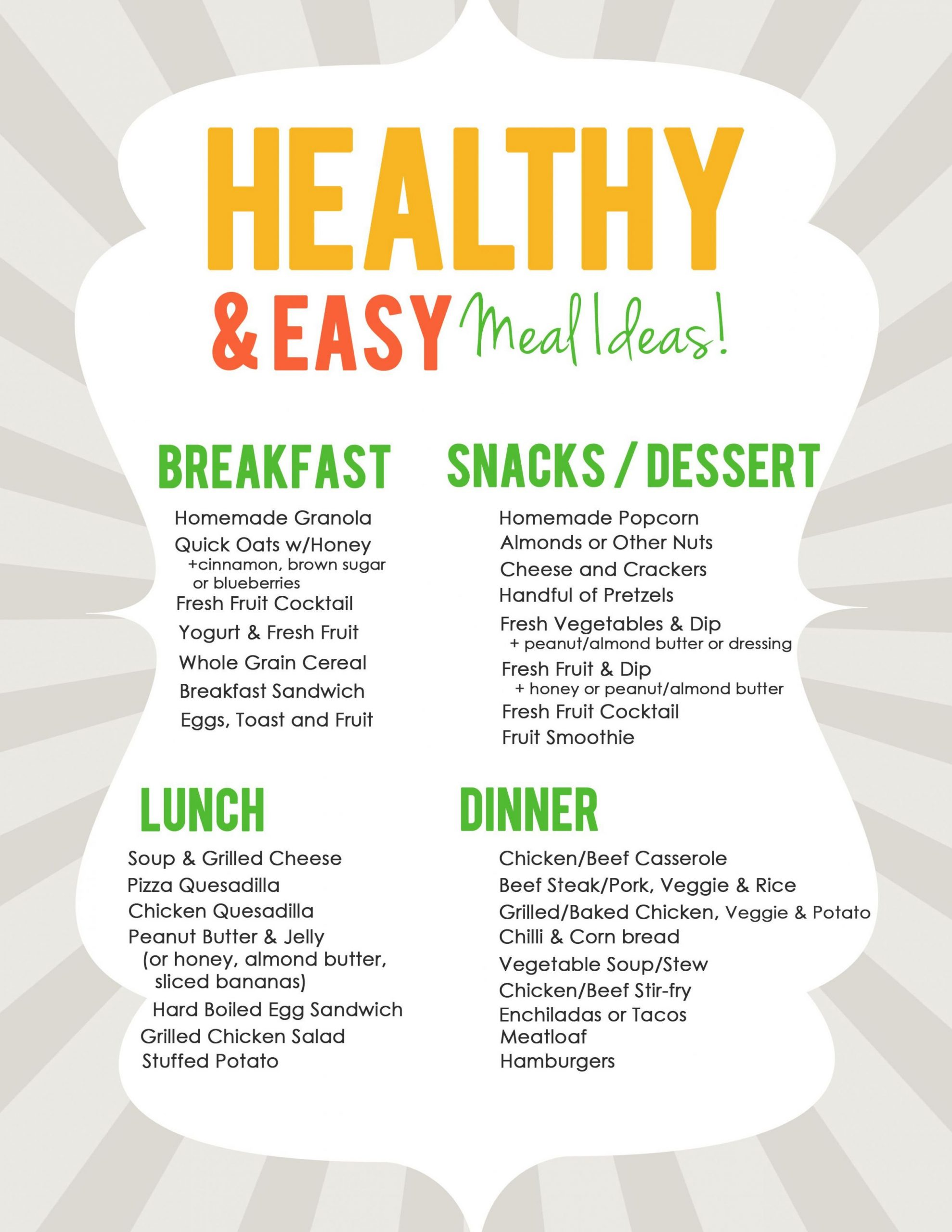 Easy & Healthy Meal Ideas List for Meal Planning | Healthy, Easy ...