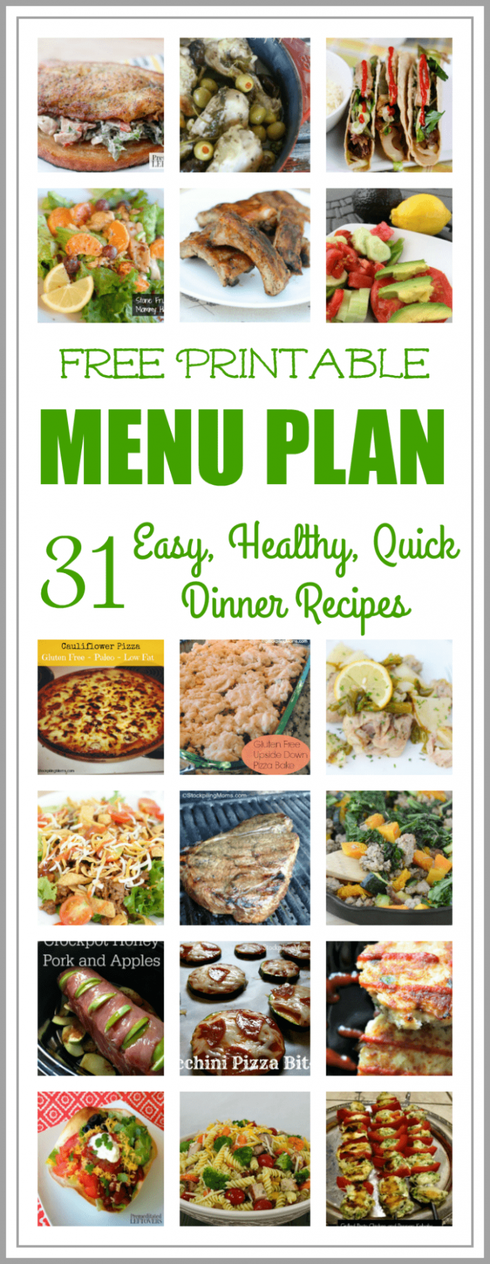 Easy and Healthy Dinner Meal Plan - A Month of Recipes - Dinner Recipes July