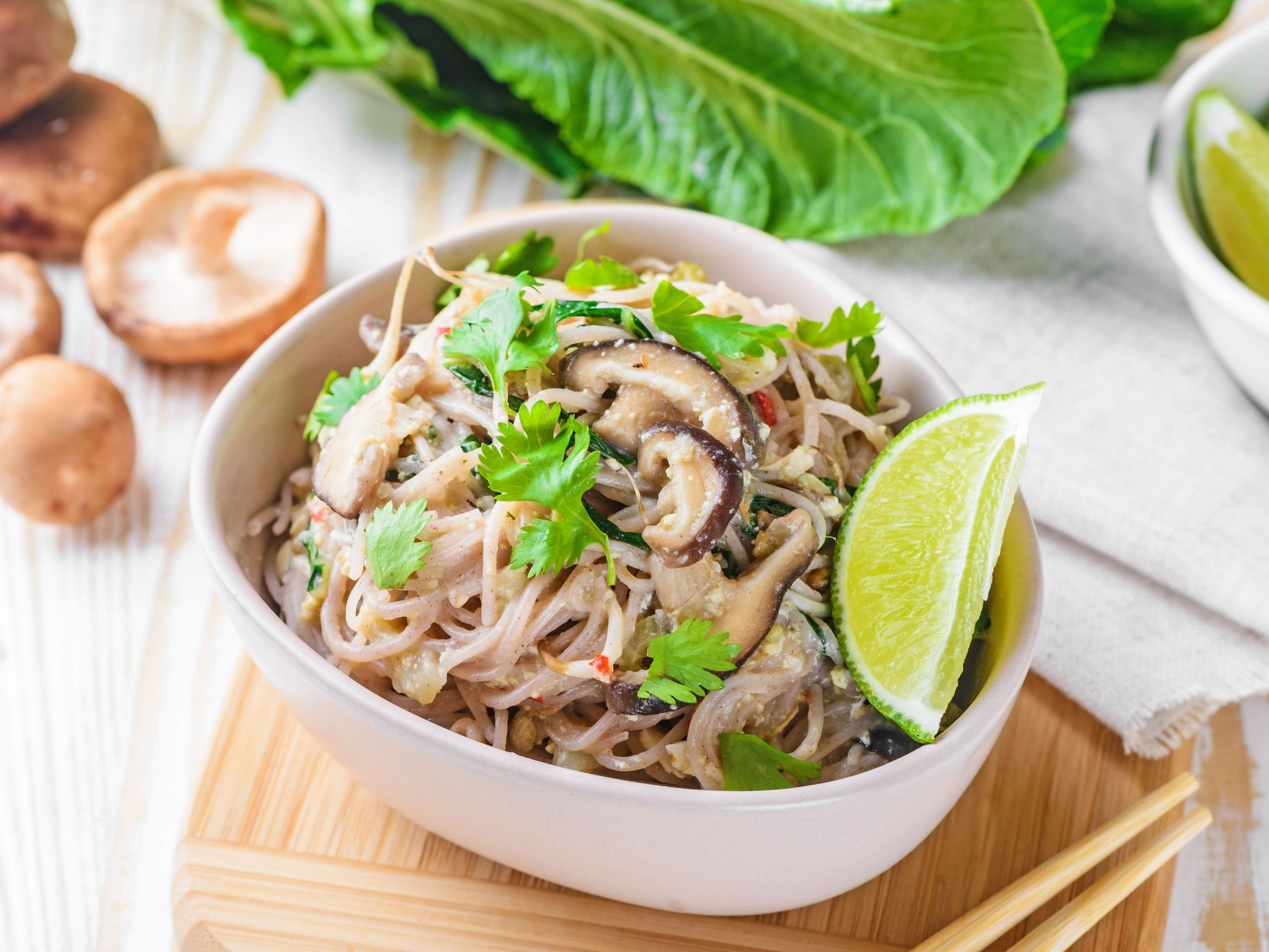 Easy Brown Rice Vermicelli Noodles With Fresh Shiitake Mushrooms - Recipes Rice Vermicelli Noodles